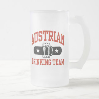 Austrian Drinking Team 16 Oz Frosted Glass Beer Mug