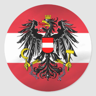 Austrian Flag & Coat of Arms Classic Round Sticker