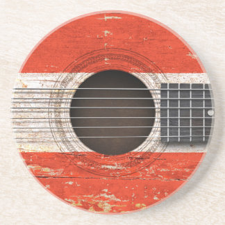 Austrian Flag on Old Acoustic Guitar Beverage Coasters