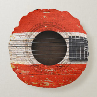 Austrian Flag on Old Acoustic Guitar Round Pillow