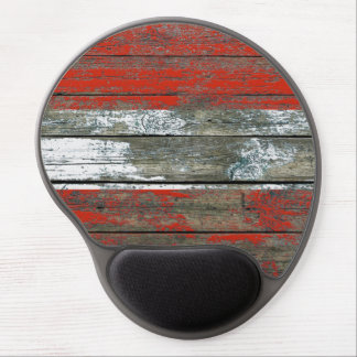 Austrian Flag on Rough Wood Boards Effect Gel Mouse Pad