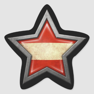 Austrian Flag Star on Black Star Sticker
