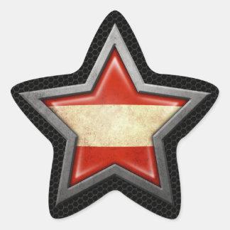 Austrian Flag Star with Steel Mesh Effect Star Sticker