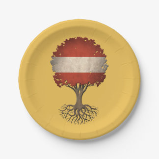 Austrian Flag Tree of Life Customizable 7 Inch Paper Plate