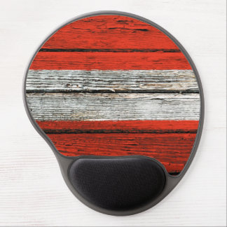 Austrian Flag with Rough Wood Grain Effect Gel Mouse Pad