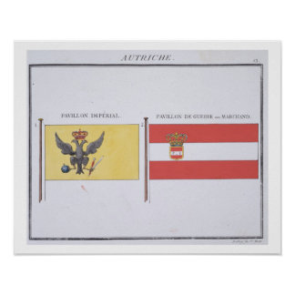 Austrian Flags, from a French book of Flags, c.181 Poster