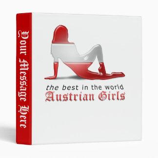 Austrian Girl Silhouette Flag 3 Ring Binder
