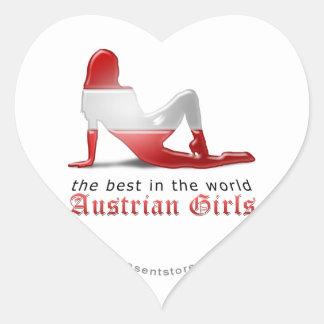 Austrian Girl Silhouette Flag Heart Sticker