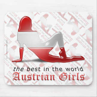 Austrian Girl Silhouette Flag Mouse Pad