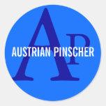 Austrian Pinscher Monogram Round Stickers