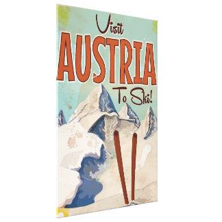 Austrian Skiing Vintage travel poster Canvas Print