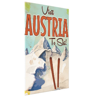 Austrian Skiing Vintage travel poster Canvas Print