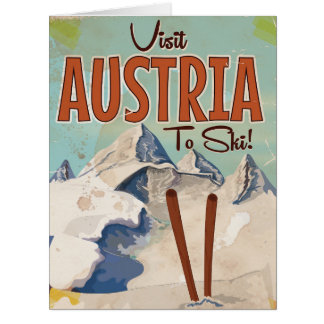 Austrian Skiing Vintage travel poster Card