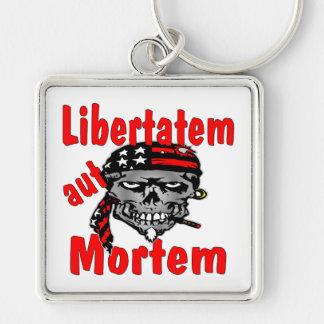 Aut Mortem de Libertatem del cráneo (latino para l Llavero Cuadrado Plateado