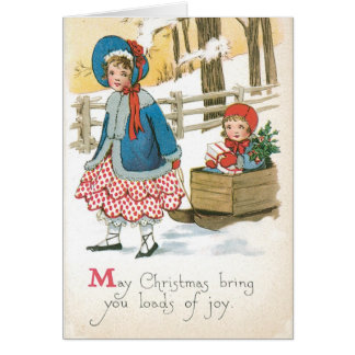 Authenic Vintage Christmas Card with Children