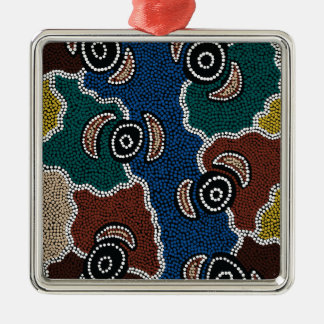 Authentic Aboriginal Art - Riverside Dreaming Metal Ornament