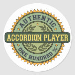 Authentic Accordion Player Classic Round Sticker