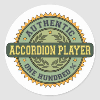 Authentic Accordion Player Classic Round Sticker