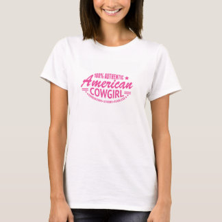 Authentic American Cowgirl Tee Shirt Pink Logo