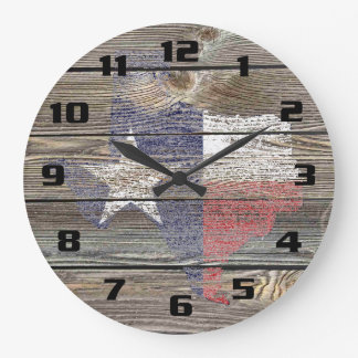 Authentic and Rustic Texas Map and Flag on wood Large Clock
