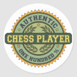 Authentic Chess Player Round Stickers