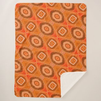 Authentic Gypsy Medallion Art - Orange - Sherpa Sherpa Blanket