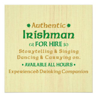 Authentic Irishman For Hire Poster