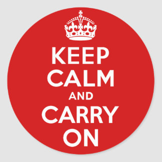 Authentic Keep Calm And Carry On Original Red Classic Round Sticker