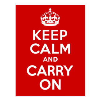 Authentic Keep Calm And Carry On Original Red Postcard