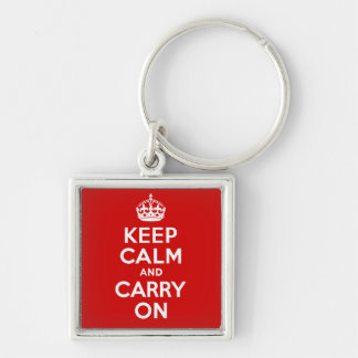 Authentic Keep Calm And Carry On Original Red Silver-Colored Square Keychain