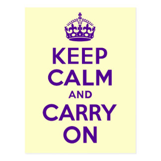 Authentic Keep Calm And Carry On Purple best price Postcard