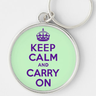 Authentic Keep Calm And Carry On Purple best price Silver-Colored Round Keychain