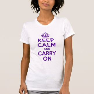 Authentic Keep Calm And Carry On Purple Best Price Tee Shirt
