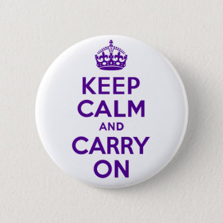 Authentic Keep Calm And Carry On Purple Button