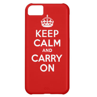 Authentic Keep Calm And Carry On Red and White Cover For iPhone 5C