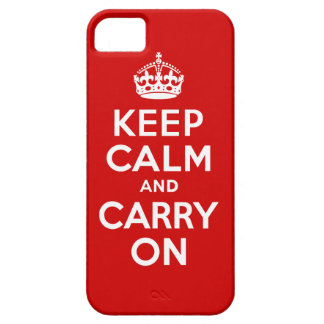 Authentic Keep Calm And Carry On Red and White iPhone SE/5/5s Case