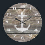 """Authentic looking Wood Rustic Anchor nautical Large Clock<br><div class=""""desc"""">Beautiful Authentic looking Wood Rustic Anchor nautical theme.</div>"""