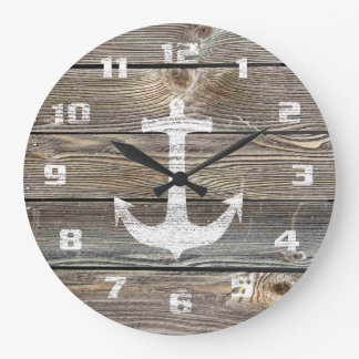 Authentic looking Wood Rustic Anchor nautical Large Clock