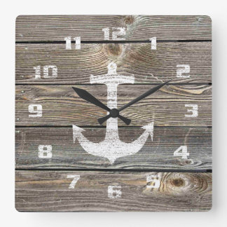 Authentic looking Wood Rustic Anchor nautical Square Wall Clock