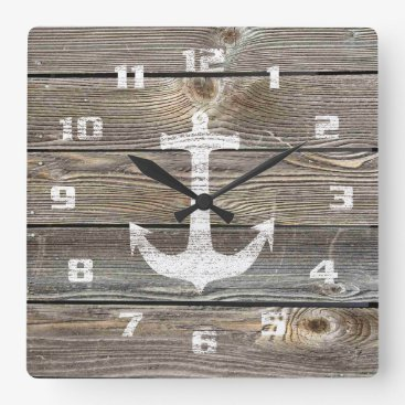 2shirt Authentic looking Wood Rustic Anchor nautical Square Wall Clock