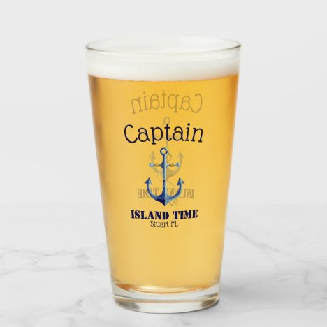 Authentic Nautical Captain and Boat Name Glass