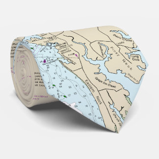 Authentic Nautical Chart Baltimore MD Chesapeake Tie