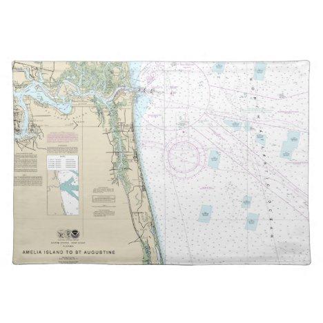 Authentic Nautical Chart Jacksonville Beach FL Cloth Placemat