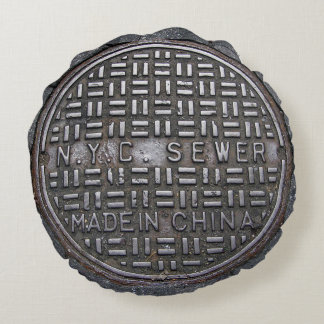 Authentic New York City NYC Sewer Cover Round Pillow