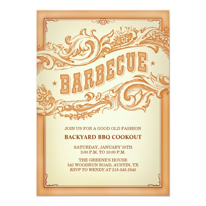 Authentic Old Western BBQ Invitation