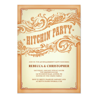 Authentic Old Western Engagement Party Invitation