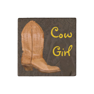 Authentic Ranch-hand Wrangler Cowgirl Boot Design Stone Magnet