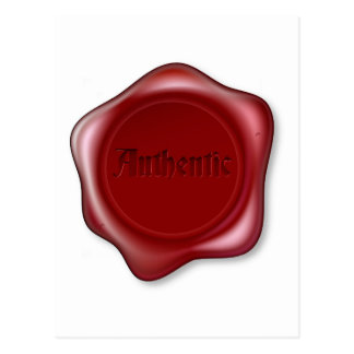 Authentic red wax seal illustration postcard