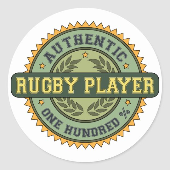 Authentic Rugby Player Classic Round Sticker