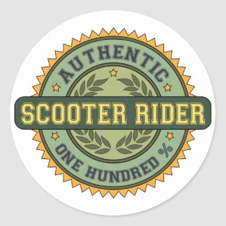 Authentic Scooter Rider Classic Round Sticker